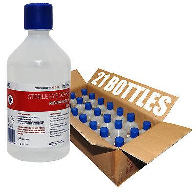 Full Box 21x 500ml Blue Lion Sterile Saline Solution Eye Wound Wash Bottles