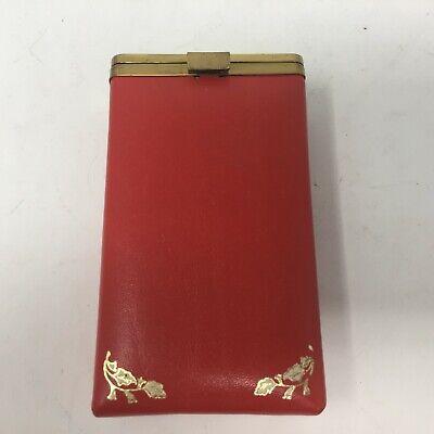 Vintage Red Cigarette Case Hard Plastic Insert Flip Top Lid Super King Steerhide