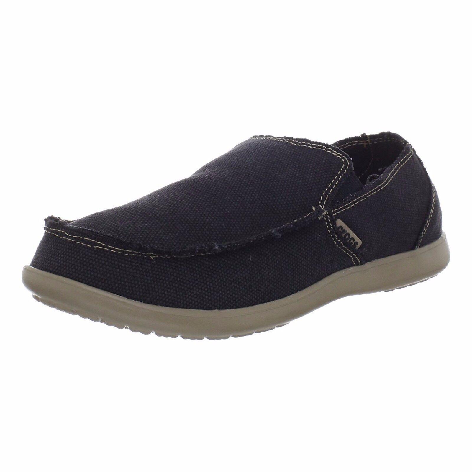 Mens Crocs Santa Cruz Fashion Loafer Black Canvas Casual Beach All SZs NIB