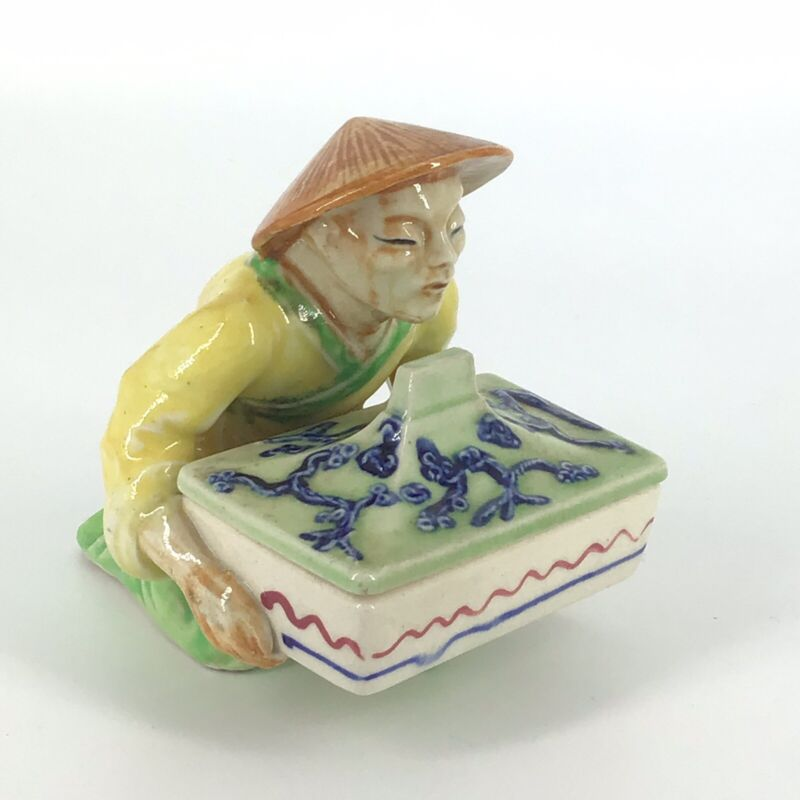 Asian Man Holding Trinket Box Vtg Occupied Japan Ceramic Figurine Mid Century