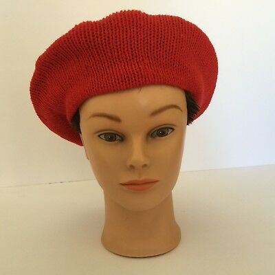 Wool Blend Red Berret Women's Hat, Knit, Made in USA