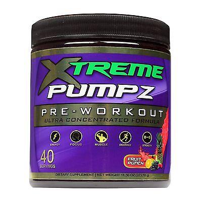 Xtreme Pumpz 40 Serving - Fruit Punch + FREE SHAKER CUP - Best Pre-workout