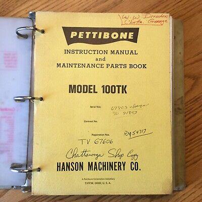 Pettibone 100tk Truck Crane Instruction Service Manual Maintenance Parts Book