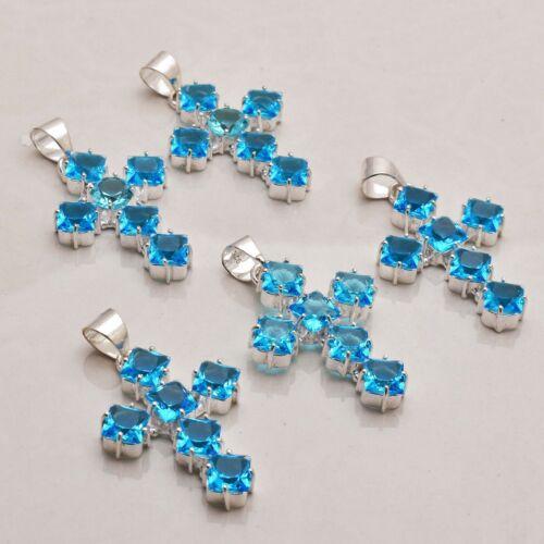 Blue Topaz Gemstone Ethnic Handmade 5 pcs Wholesale Lot Pendant Jewelry Lot-826