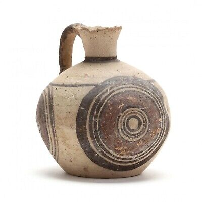 Authentic Cypro-Geometric Bichrome Jug, Ex. Eban Collection, circa 1000-700 B.C.