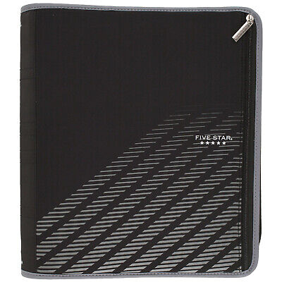 New Five Star Xpanz Black Gray Zipper 3-ring Binder 2 380 Pages Capacity