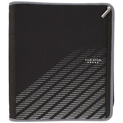 New Five Star Xpanz Black Gray Zipper 3-ring Binder 2 380 Pages Capacity