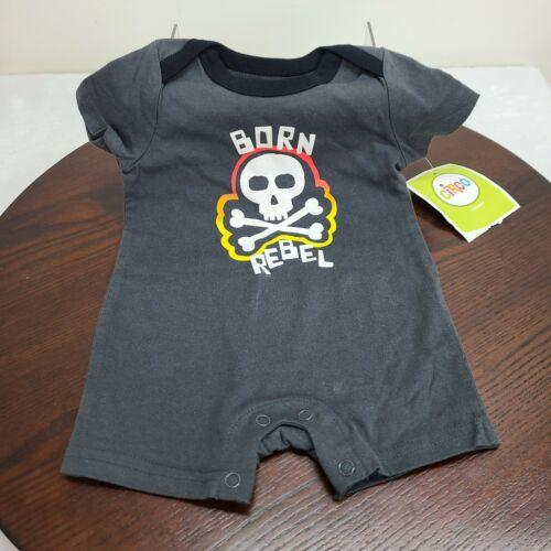 Circo 3M Romper Born Rebel Black Gray Short Sleeve Snap