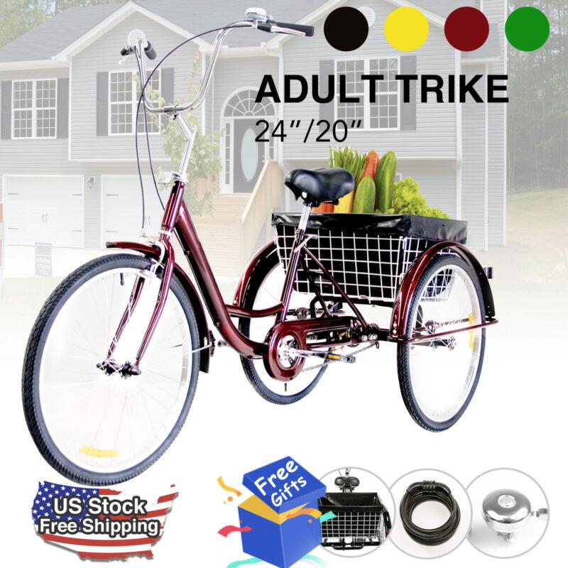 "24""/20"" Adult Tricycle Trike 3-Wheel Cruise Bike w/Basket, L"