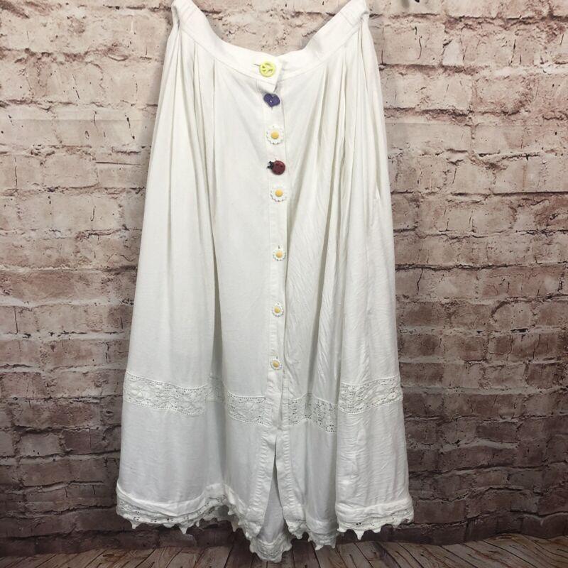 Vintage Alphorn Skirt Size 44 German  White Linen Whimsical Buttons