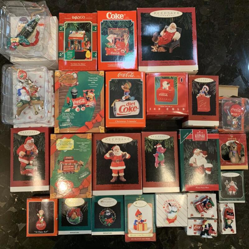 Lot Of 25 Christmas Ornaments Hallmark Enesco Coke Vintage Brand New
