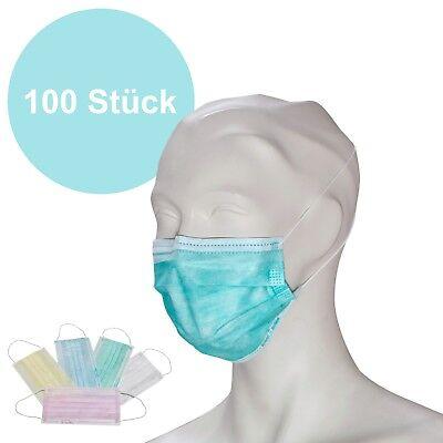 100 Stück Einweg Mundschutz OP Premium   elasti. Band Atem- Schutz Staubmaske