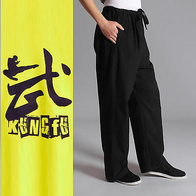Chinese Traditional style Jackie Chan Kung Fu Pants Trousers Tai Ji Unisex M-4XL