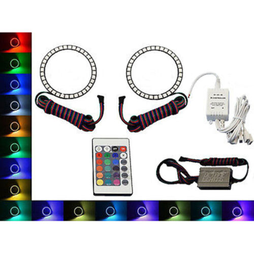 90mm IR Multi-Color Changing LED RGB Shift Headlight Angel Eye Halo Rings Pair