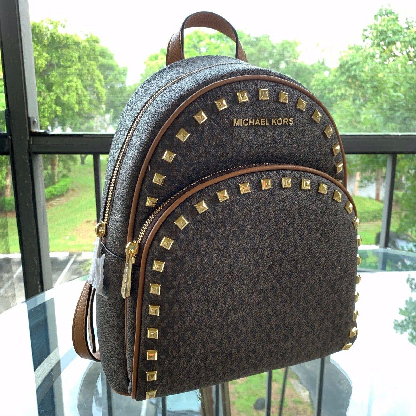 Michael Kors Abbey Women Medium Leather Studded Backpack Sch