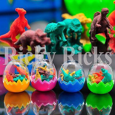 96 Dinosaur Erasers Toys Eggs Party Bag Fillers Favors Jurassic T-Rex 12 Egg Lot