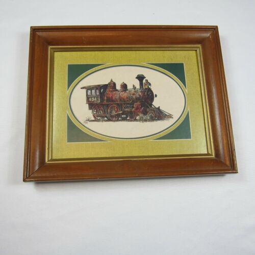 Vintage Steam Locomotive Train Picture JB Rivard Print Wood Framed 15.5 x 19.5