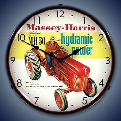 Massey-Harris Farm Tractor Wall Clock, LED Lighted