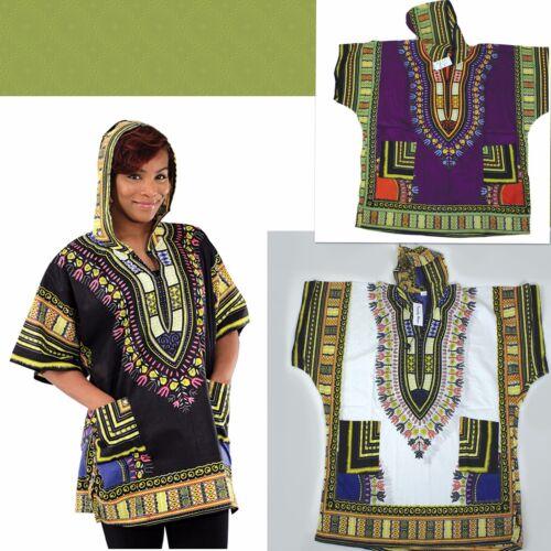 Traditional African Print Dashiki hoodie choice black purple gold white unisex