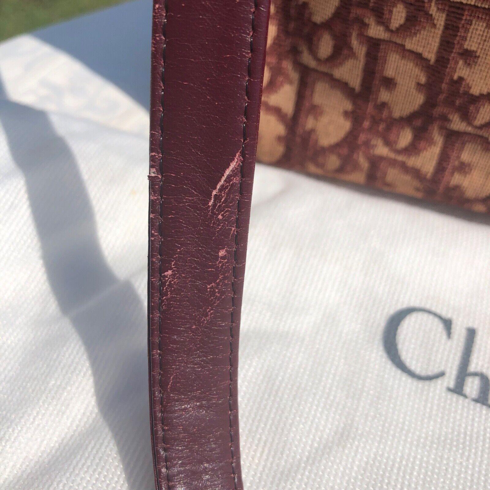 Sac christian dior vintage toile jacquard bordeaux french bag monogram