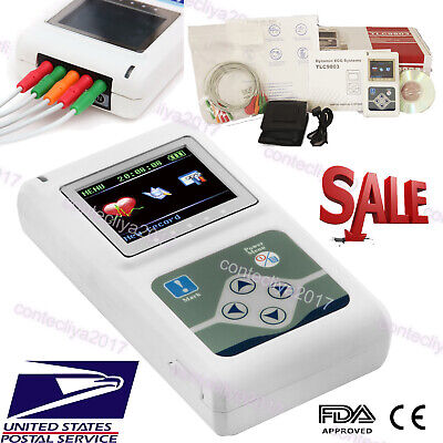 Handheld Dynamic Ecg System 3 Channels Holter Ecg Machine 24h Recorder Software