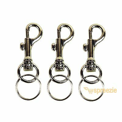 (Lot of 3) Keychains Snap Trigger Swivel Hook Clips Belt Clip Key Rings Spring