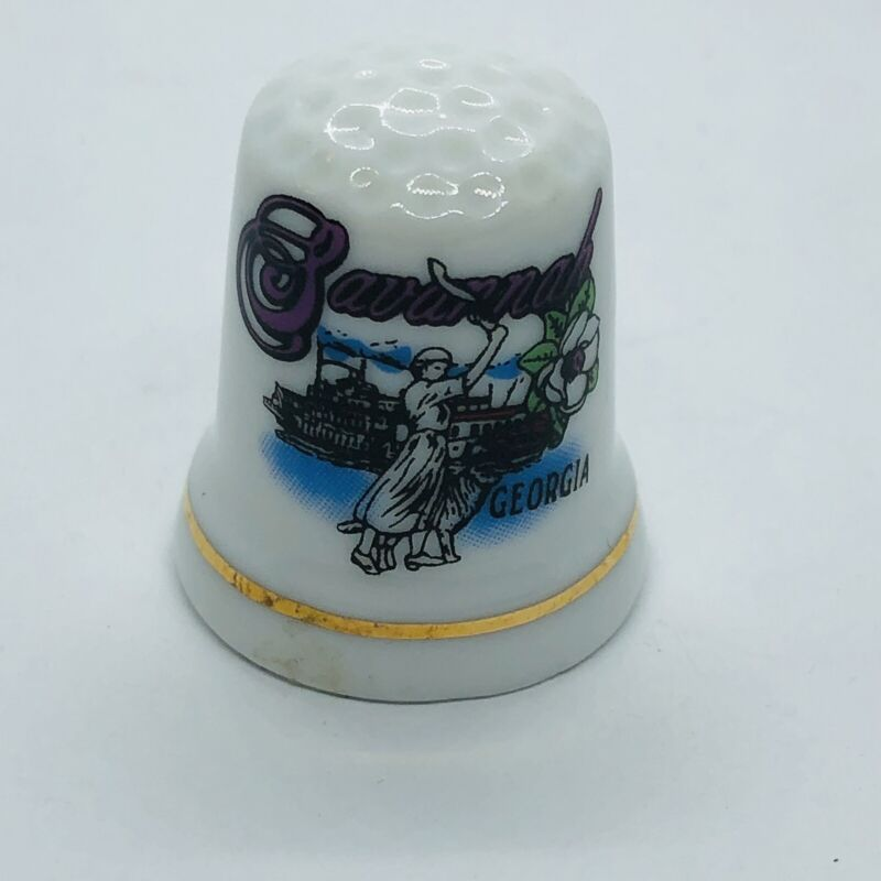Savannah Georgia Souvenir Porcelain Thimble w/ Steamboat & Dogwood