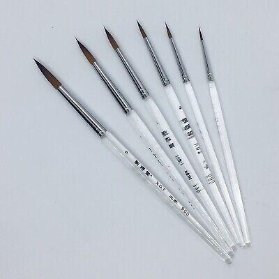XDT#900 Round Tip Highlight Liner Artist Paint Art Brush 6pc Acrylic Watercolor Nylon Tip Round Brush