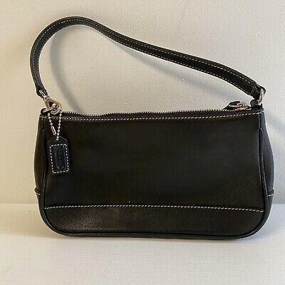 Coach Hampton Vintage Black Leather Demi Bag SM Purse Baguette Wristlet 7785