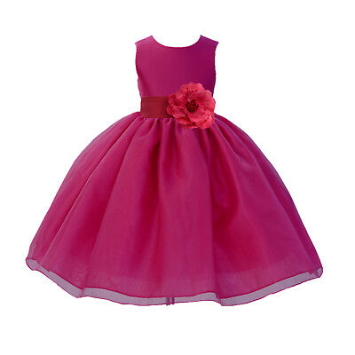 New Wedding Organza Fuchsia Hot Pink Flower Girl Dress Pageant Toddler Birthday - Flower Girl Dresses Hot Pink