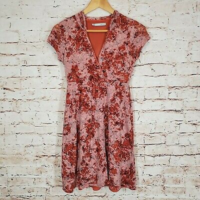 Maurices Dress Short Sleeved Hooded Lined Size Small S Burnout Skulls Coral - Hood Dress