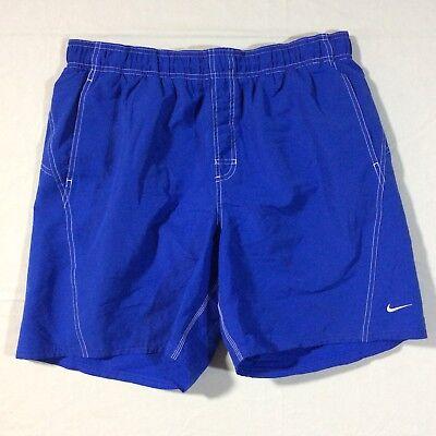 Nike Blue Mesh Lined 2 Pocket Elastic Drawstring Swim Shorts Trunks Men's XL