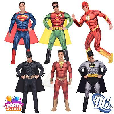 Mens Super Hero Costumes (Mens Classic Deluxe Fancy Dress Super Hero Costume DC Comic Book Day)