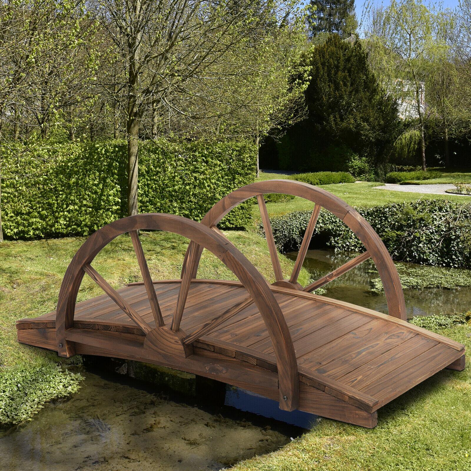 Outsunny Wooden Garden Bridge Lawn Décor  Outdoor Pond – 100L x 50W x 37Hcm
