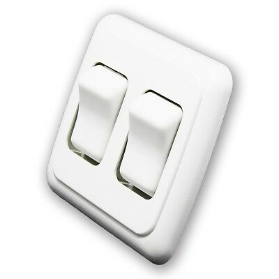Double 2 Gang On-Off 12 volt White Light Switch - RV Camper Trailer Marine Boat