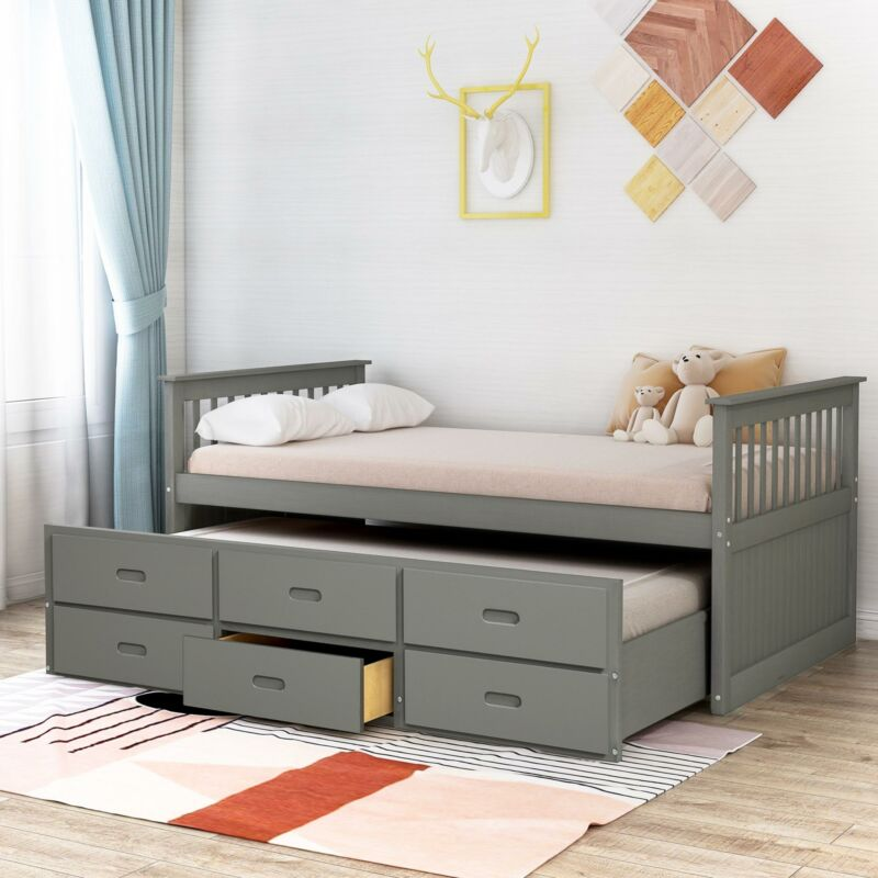 Twin Bed Solid Wood Captains Bed Trundle and Drawers Twin Ki