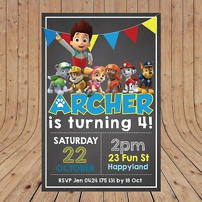 Paw Patrol Party Invites (Personalised DIGITAL PAW PATROL Kid Party Birthday Invites Invitations YOU)