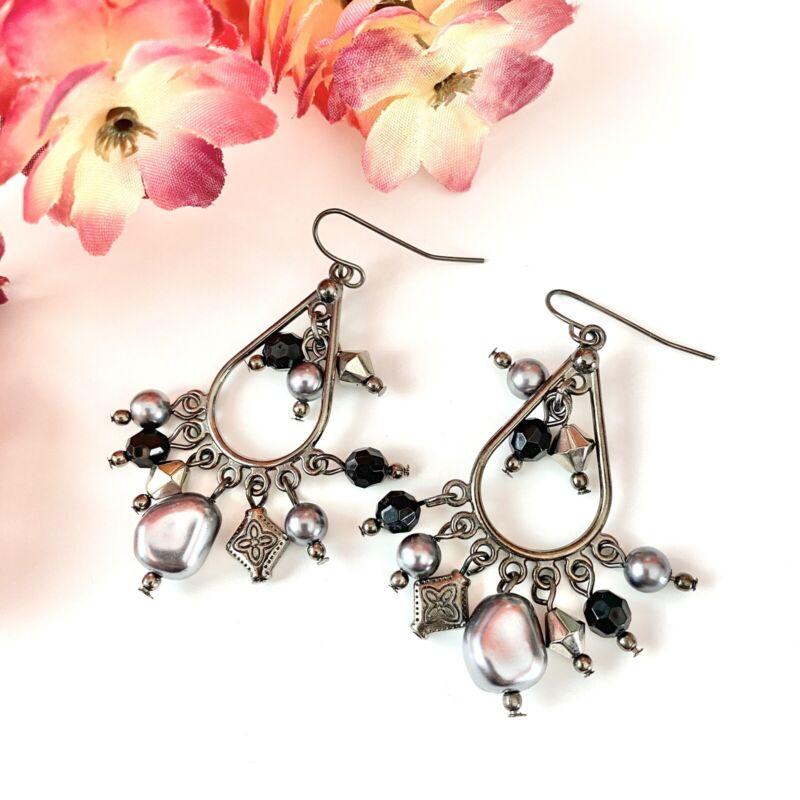 Black & Silver Beaded Charm Dangle Chandelier Earrings  US SELLER!