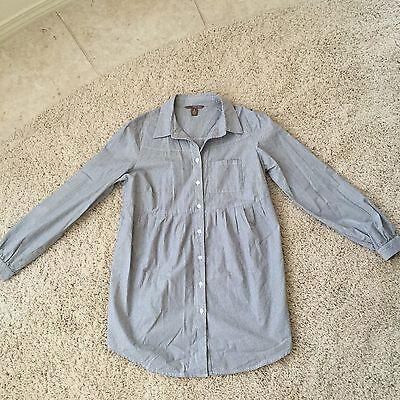 Pink Twill Dillards Dress Shirt Button Down Womens Long Sleeve Blue Striped S