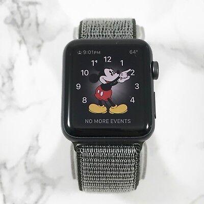 Apple Watch Gen 1 42mm Space Gray Aluminium Series 7000 Olive Nylon Loop