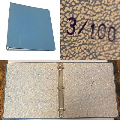 Vintage 2 Blue Canvas 3-ring Binder Stamped 3100 Rare Clean For Use Or Prop