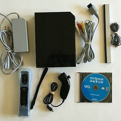 Black Nintendo Wii Console System Bundle RVL-101 with Wii Sports Game OEM