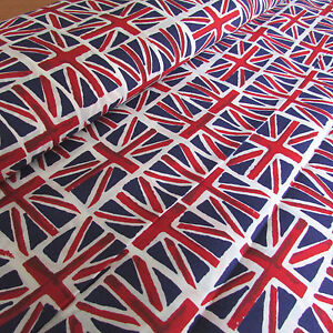 Union jack flag wide poly cotton fabric 59