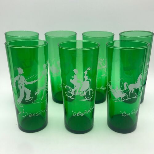 Vintage Anchor Hocking Forest Green Open Sleigh Glasses, Lot Of 7