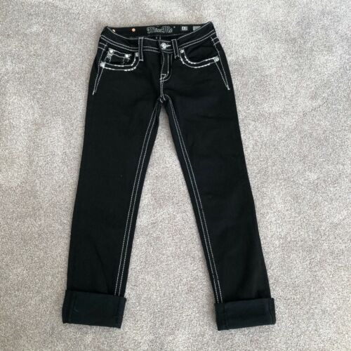 MISS ME Denim Girls Rhinestone Low Rise Stretch Skinny Cuffed Dark Blue Jeans 12