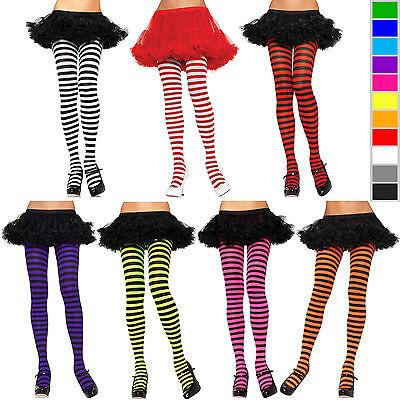 Striped Pantyhose (Leg Avenue Nylon Stripe Pantyhose Tights Socks Costume Stockings One Size)