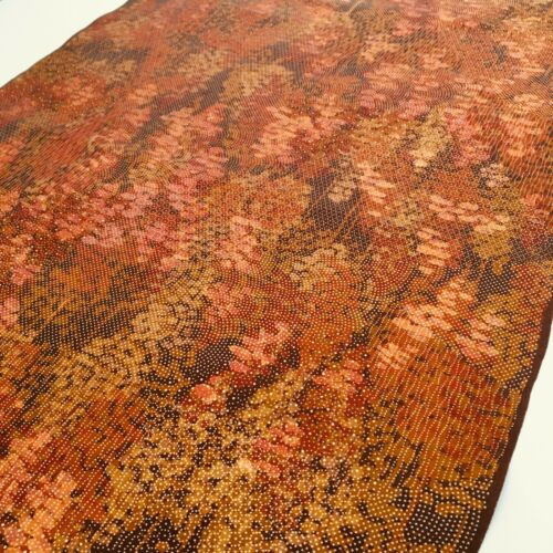 Falling Leaves #B 13.5x61 LONG Vintage Silk Japanese Kimono Fabric Panel RG16