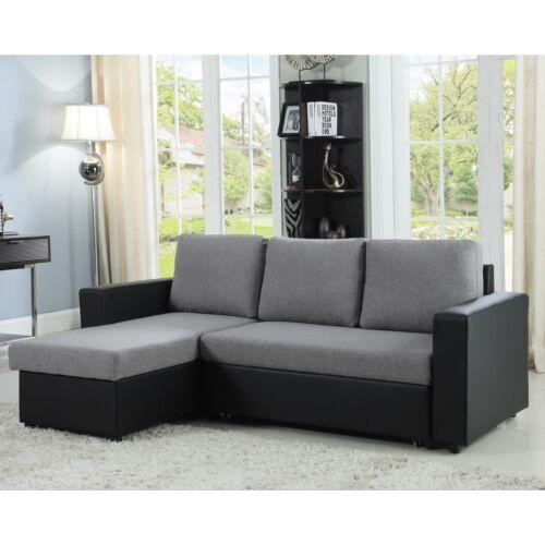 Gray & Black Reversible Storage Sofa Sleeper Sectional Living Room Furniture