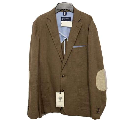 $250 CREMIEUX Off Duty Blazer Sport Coat Jacket Large Chino Brown Elbow Patches Clothing, Shoes & Accessories
