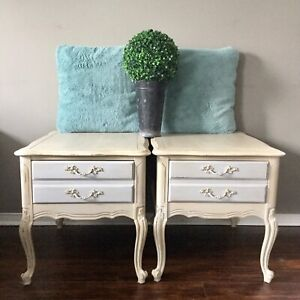 French provincial side tables, end tables, vintage furniture